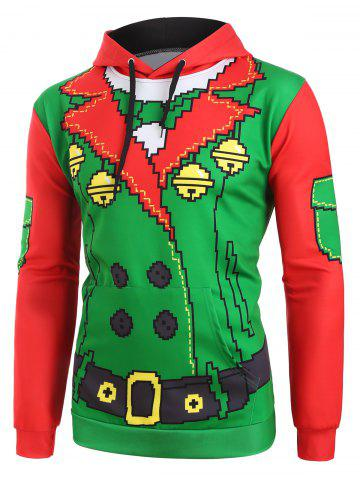 Christmas Funny Elf Front Pockets Drawstring Hoodie
