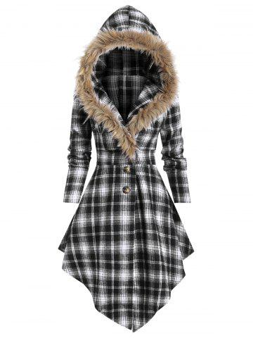 Plaid Print Lace-up Skirted Coat with Faux Fur Hood