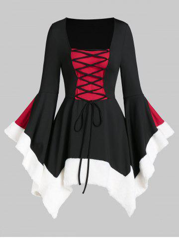 Square Collar Lace Up Fuzzy Trim Gothic Dress