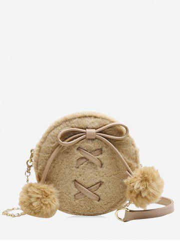 Bowknot Fuzzy Ball Small Shoulder Bag