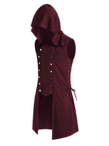 Hooded Lace-up Side Button Up High Low Vest