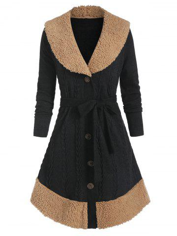 Faux Shearling Insert Cable Knit Button Up Belted Coat