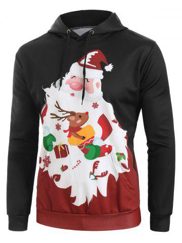 Christmas Santa Graphic Front Pocket Casual Hoodie