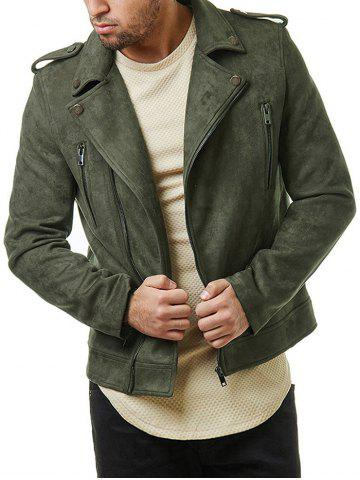 Multi Zip Faux Suede Zip Up Jacket