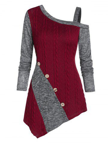 Cable Knit Asymmetric Mock Button Heathered Contrast Sweater