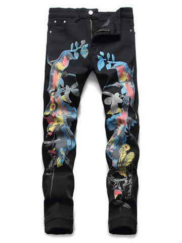 Chinese Style Birds Print Pencil Jeans