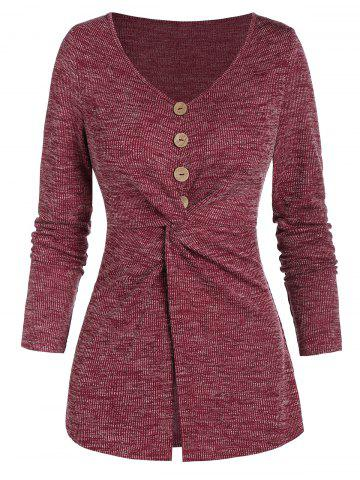 Mock Button Twist Front Heathered Ribbed Knitwear - RED WINE - 3XL