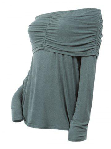 Plus Size Off Shoulder Foldover Ruched T shirt - from $16.38