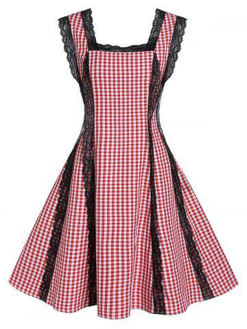 Plaid Print Lace Panel Fit And Flare Dress