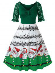 Plus Size Christmas Printed High Wasit Plunge Dress -