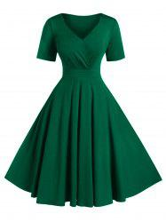 Plus Size A Line Solid V Neck Vintage Dress -