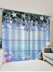2 Panels Christmas Tree Decorations Print Window Curtains -