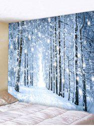 Snow Forest Road Print Tapestry Wall Hanging Decor -