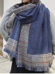 Houndstooth Print Fringed Long Wrap Scarf -