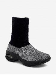 Fuzzy Panel Slip On Casual Platform Boots -