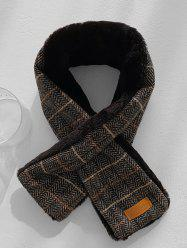 Herringbone Plaid Faux Fur Long Scarf -