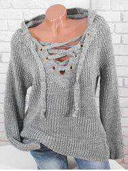 Plus Size Raglan Sleeve Lace Up Hooded Sweater -