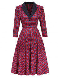 Plaid Gigot manches Robe Lapel - Rouge XL