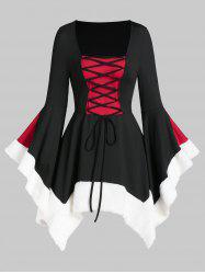 Square Collar Lace Up Fuzzy Trim Gothic Dress -