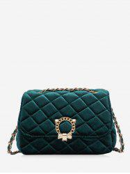Rhombic Suede Square Chain Shoulder Bag -