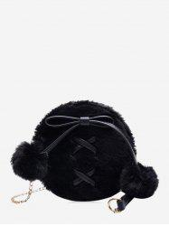 Bowknot Fuzzy Ball Small Shoulder Bag -
