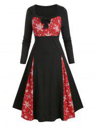 Plus Size Christmas Snowflake Bowknot Button Embellished Dress -