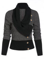 Contrast Ribbed Mock Button Sweater -
