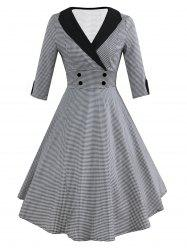 Mock Button Vintage Three Quarter Sleeve Dress -