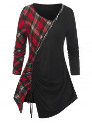 Plus Size Studded Plaid Cinched Skew Collar Tunic Tee -
