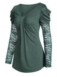 Lace Sleeve Ruched T shirt -