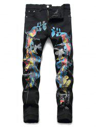 Chinese Style Birds Print Pencil Jeans -