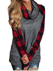 Plaid Panel Heathered Raglan Sleeves Top -
