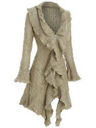 Metallic Thread Flounce Ruffle Cuff Tunic Cardigan -