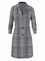 Plus Size Houndstooth Lace Two Button Long Coat -