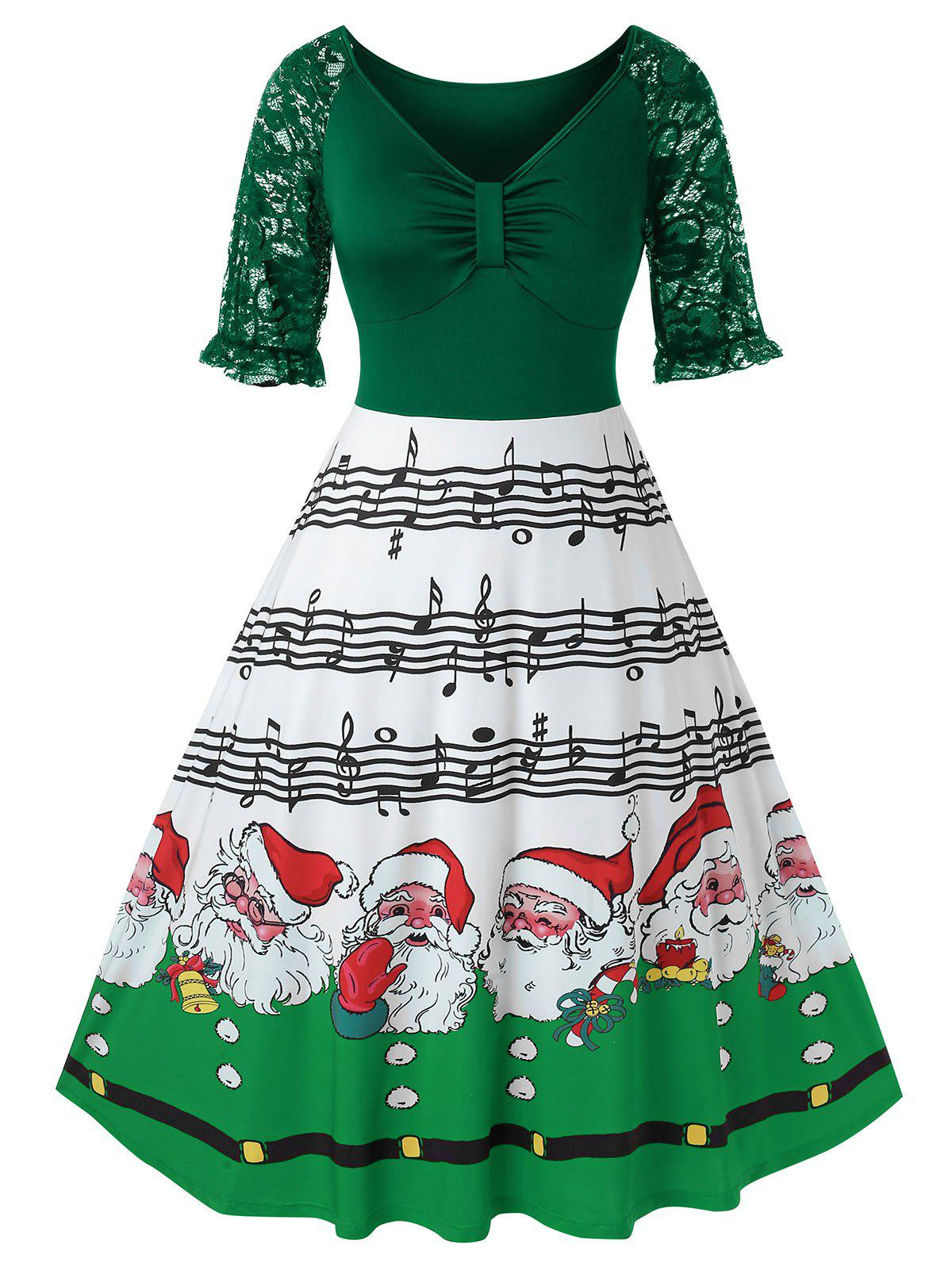 Hot Plus Size Christmas Printed High Wasit Plunge Dress