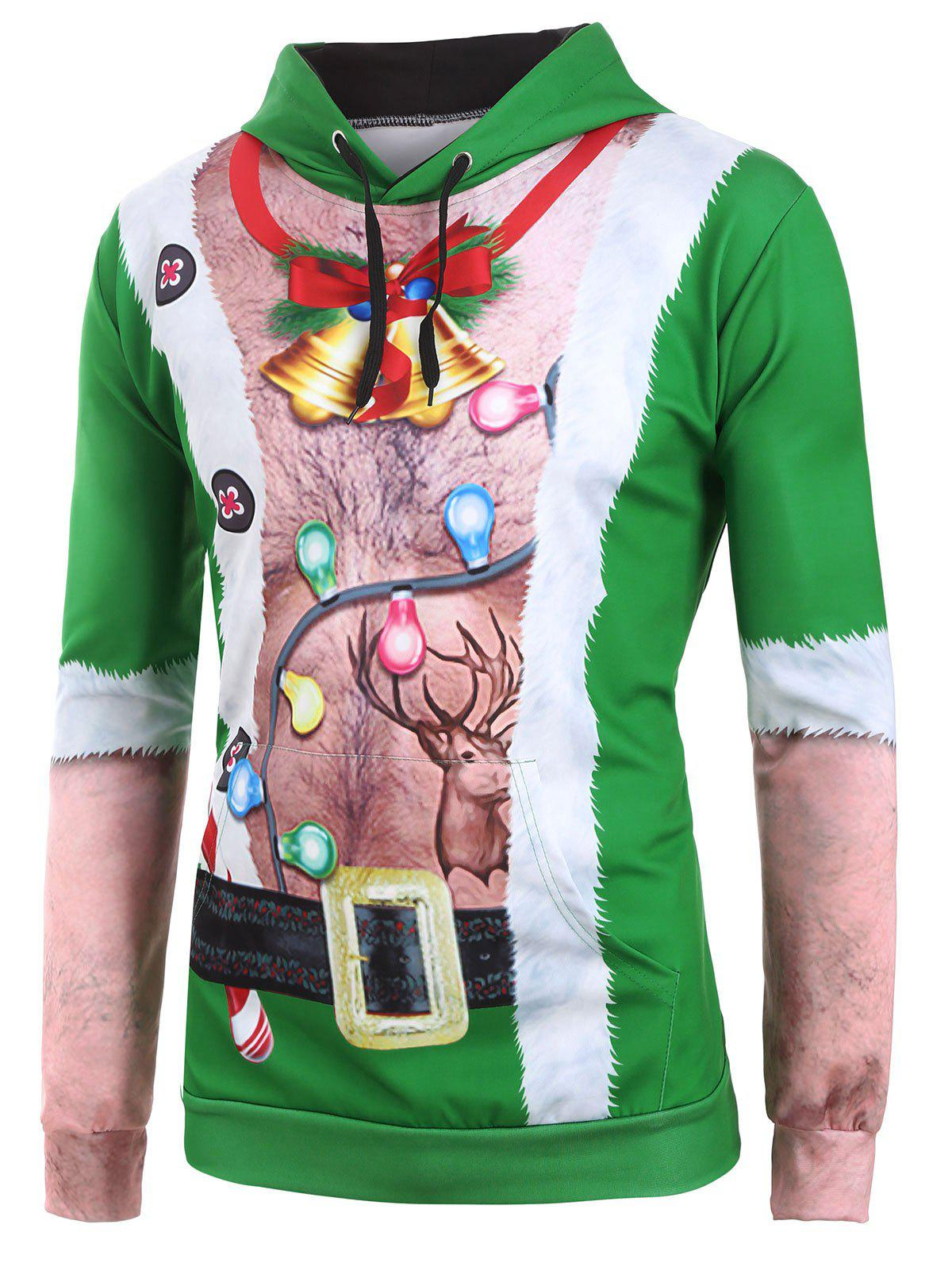 Sale Ugly Chest Hair Print Front Pocket Christmas Hoodie