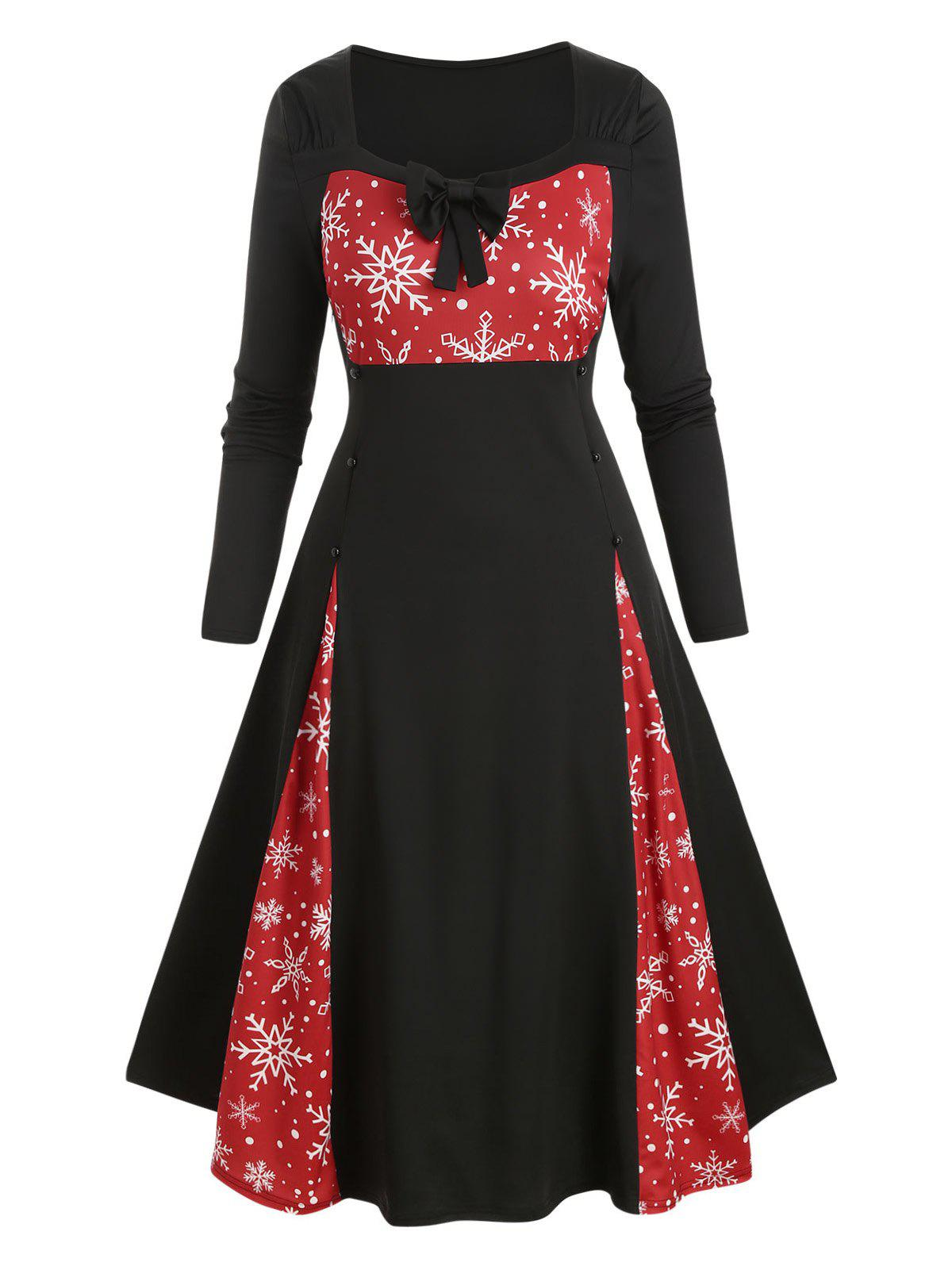 Store Plus Size Christmas Snowflake Bowknot Button Embellished Dress