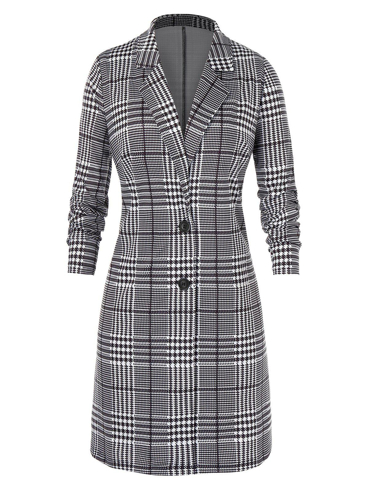 Latest Plus Size Houndstooth Lace Two Button Long Coat