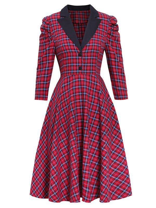 Plaid Gigot manches Robe Lapel Rouge XL