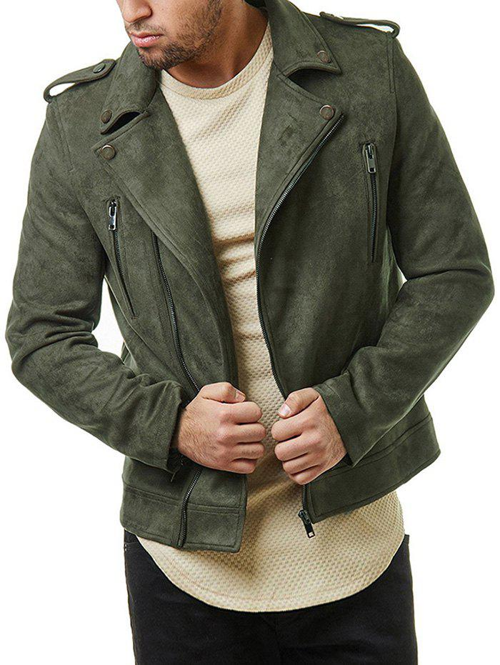 Discount Multi Zip Faux Suede Zip Up Jacket
