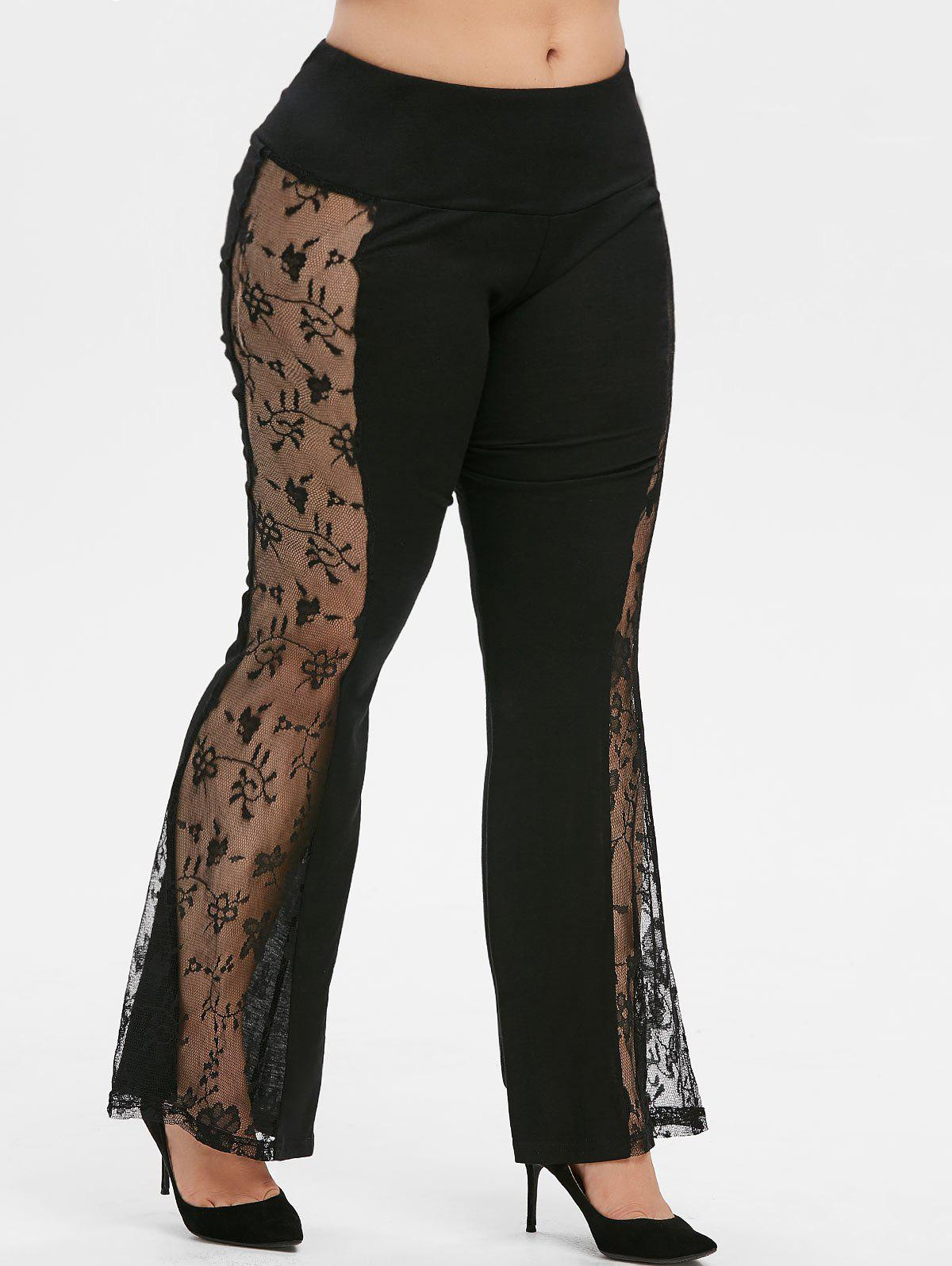 Unique Mid Rise Lace Panel Flare Plus Size Pants