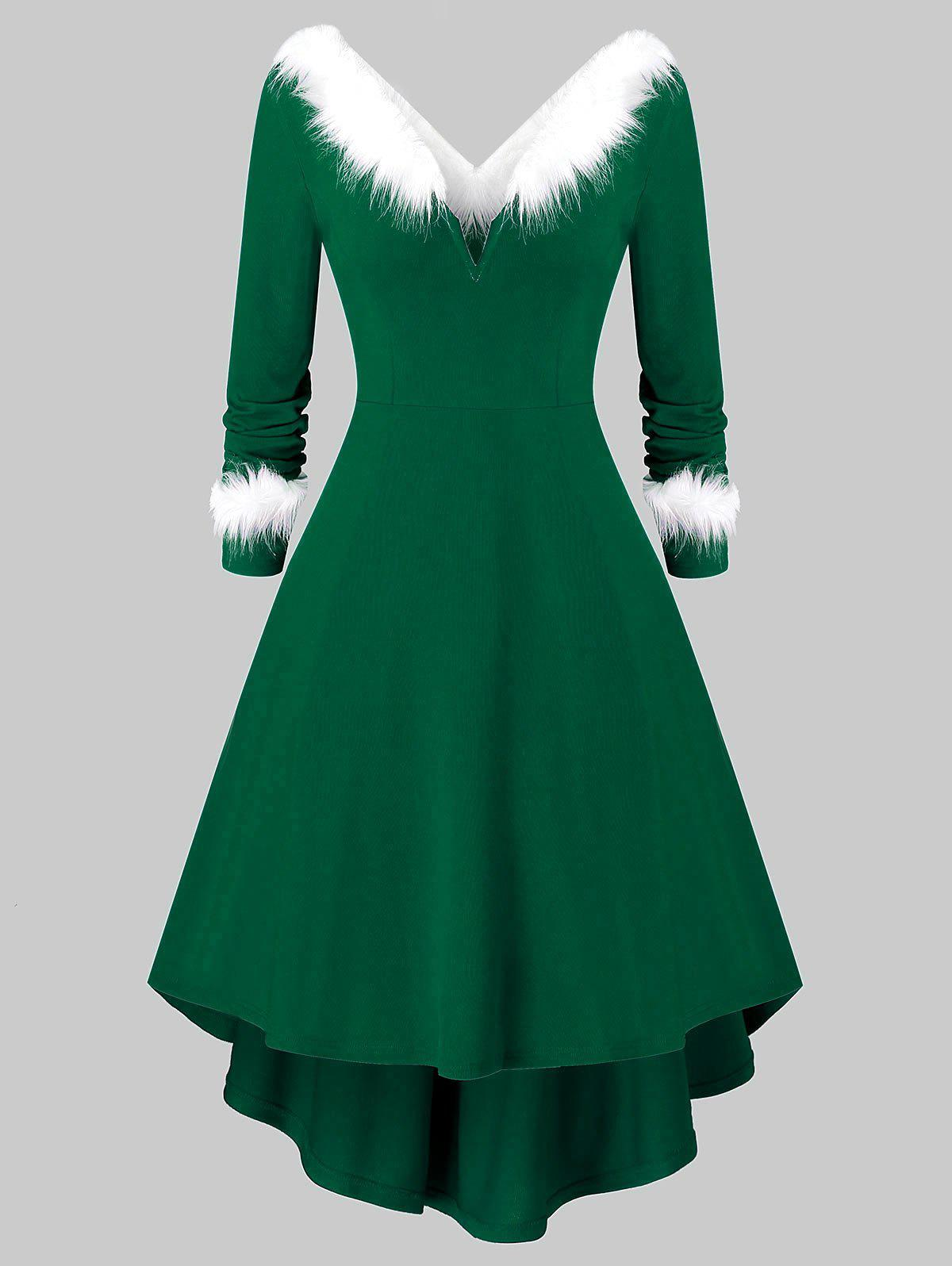 Plus Size Christmas Asymmetrical Faux Fur Panel Knitted Dress фото