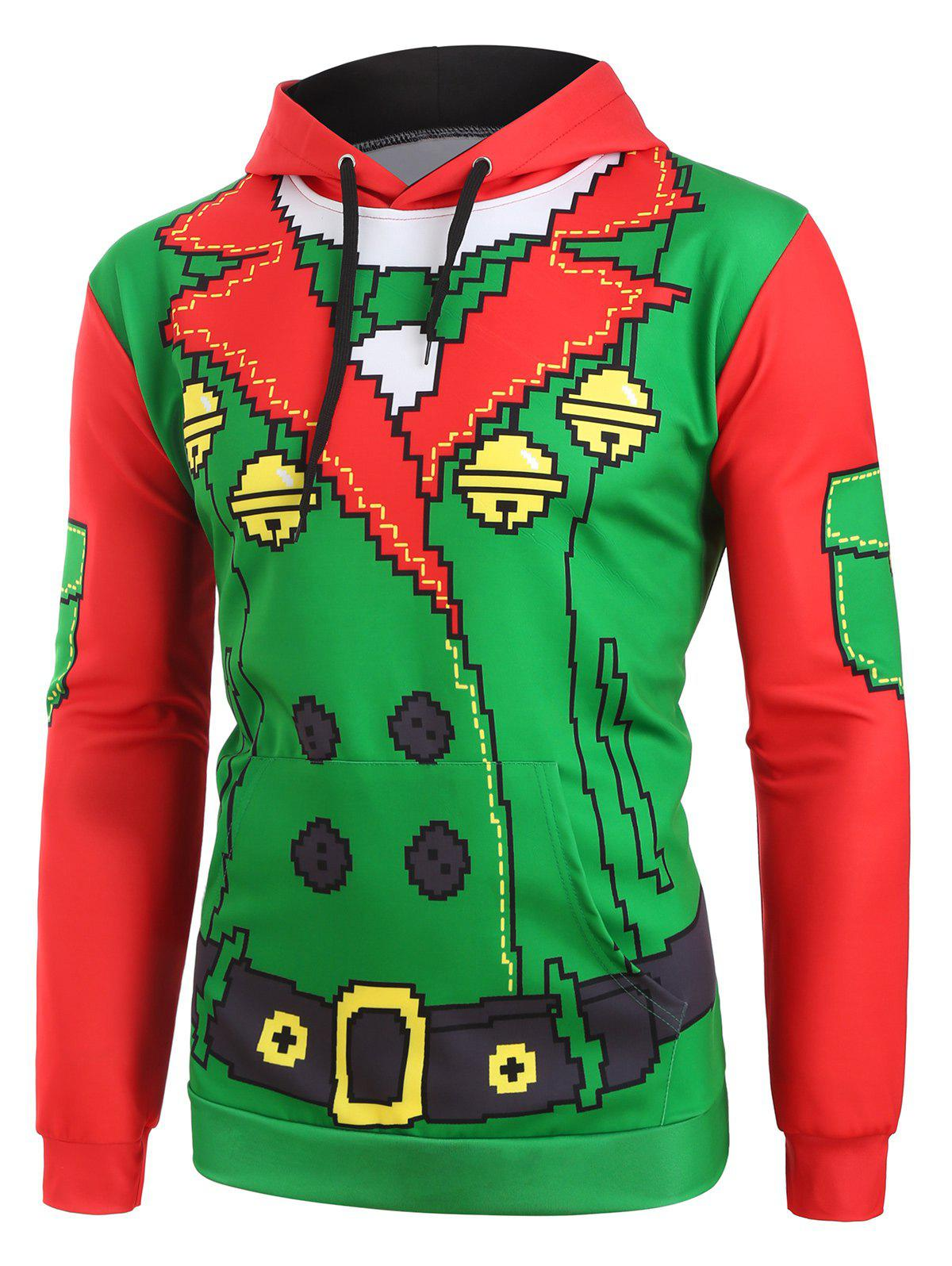 Trendy Christmas Funny Elf Front Pockets Drawstring Hoodie