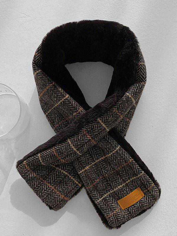 Shop Herringbone Plaid Faux Fur Long Scarf