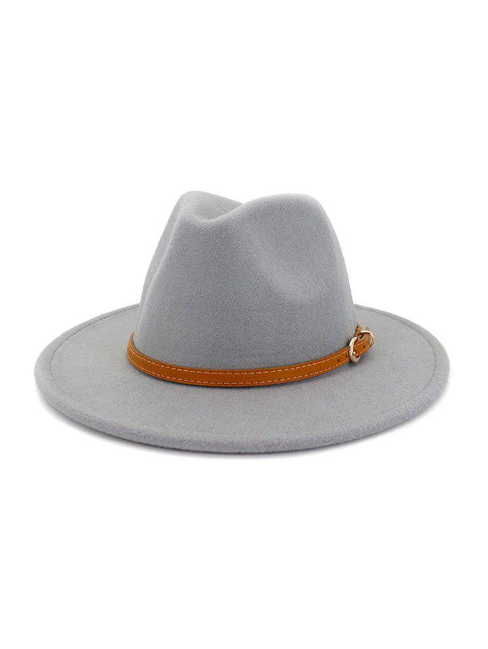 Fashion Belt Round Floppy Solid Winter Fedora Hat