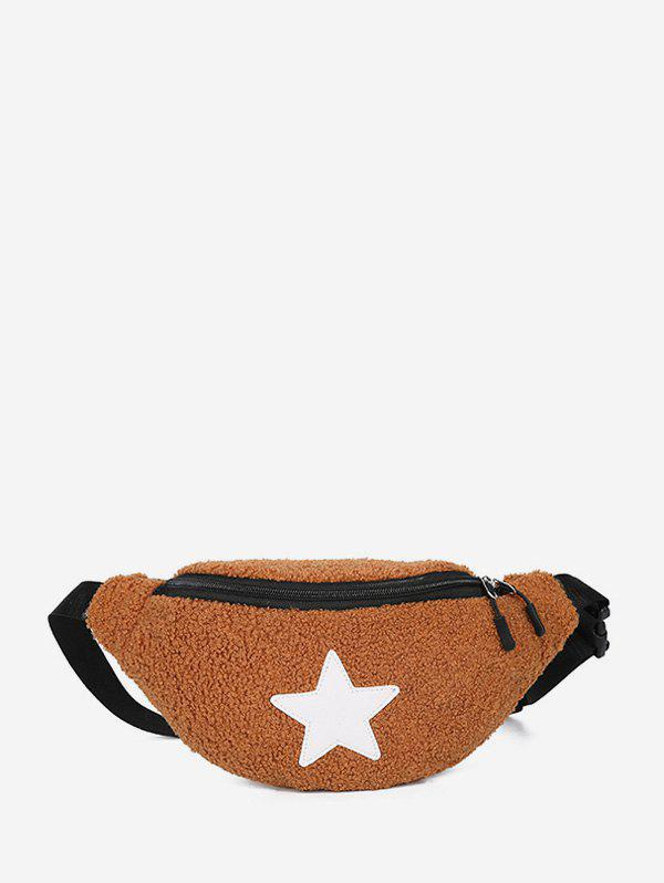 Trendy Star Pattern Suede Pocket Waist Bag