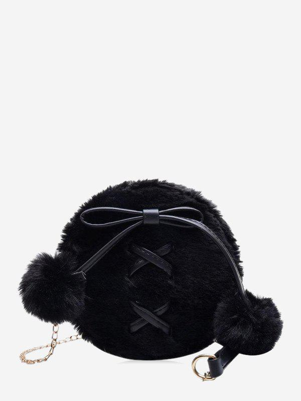 Best Bowknot Fuzzy Ball Small Shoulder Bag