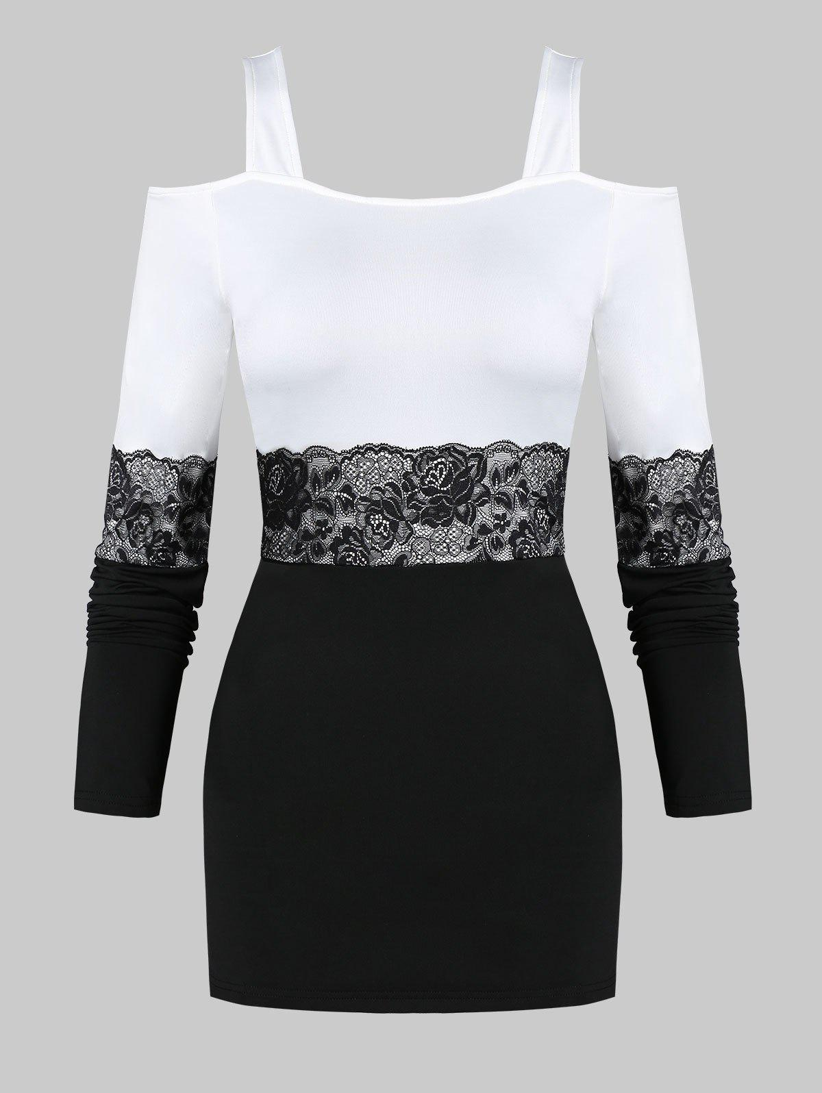 Trendy Cold Shoulder Lace Panel Long Sleeve T Shirt