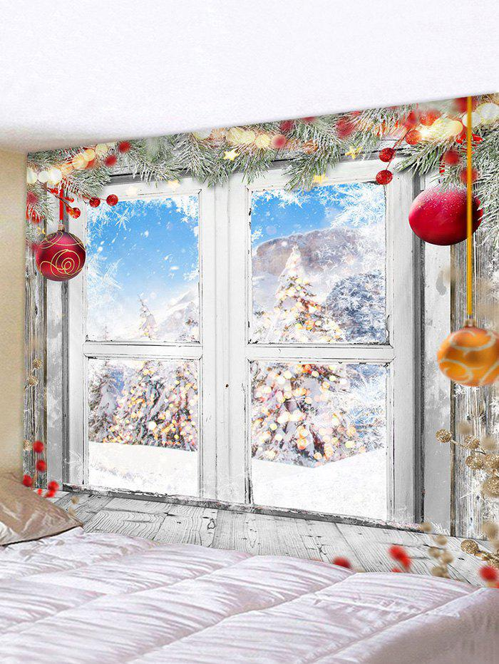 Latest Christmas Tree Balls Window Print Tapestry Wall Hanging Art Decoration