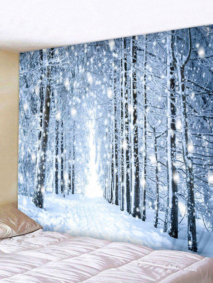 Snow Forest Road Print Tapestry Wall Hanging Decor, Pastel blue